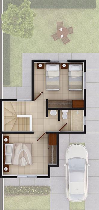Planta alta de casa en Juárez modelo Coruña VII en Arcadia La Silla