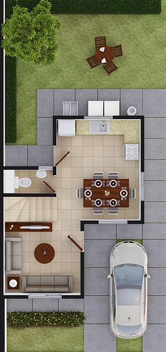 Planta baja de casa en Juárez modelo Coruña VII en Arcadia La Silla
